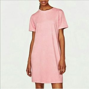 Zara trafaluc pretty in pink suede dress sz26